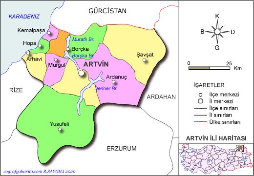 artvin haritası ile ilgili görsel sonucu