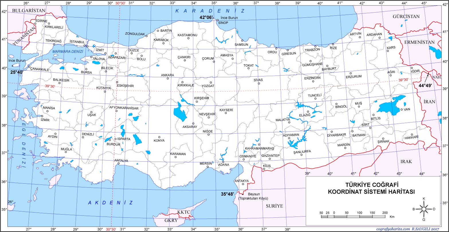 Türkei-Kartenkoordinaten